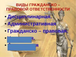 ВИДЫ ГРАЖДАНСКО – ПРАВОВОЙ ОТВЕТСТВЕННОСТИ Дисциплинарная. Административная Г