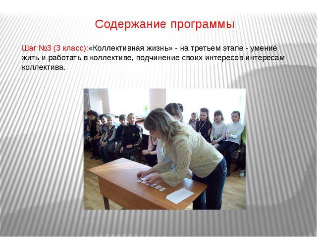 Содержание программы Шаг №3 (3 класс):«Коллективная жизнь» - на третьем этапе...