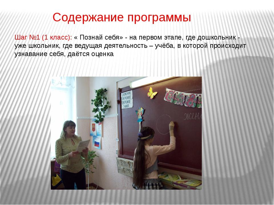 Содержание программы Шаг №1 (1 класс): « Познай себя» - на первом этапе, где...