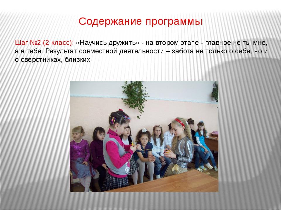 Содержание программы Шаг №2 (2 класс): «Научись дружить» - на втором этапе -...