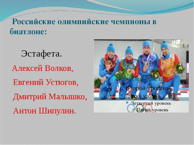 Российские олимпийские чемпионы в биатлоне: Эстафета. Алексей Волков, Евгени...