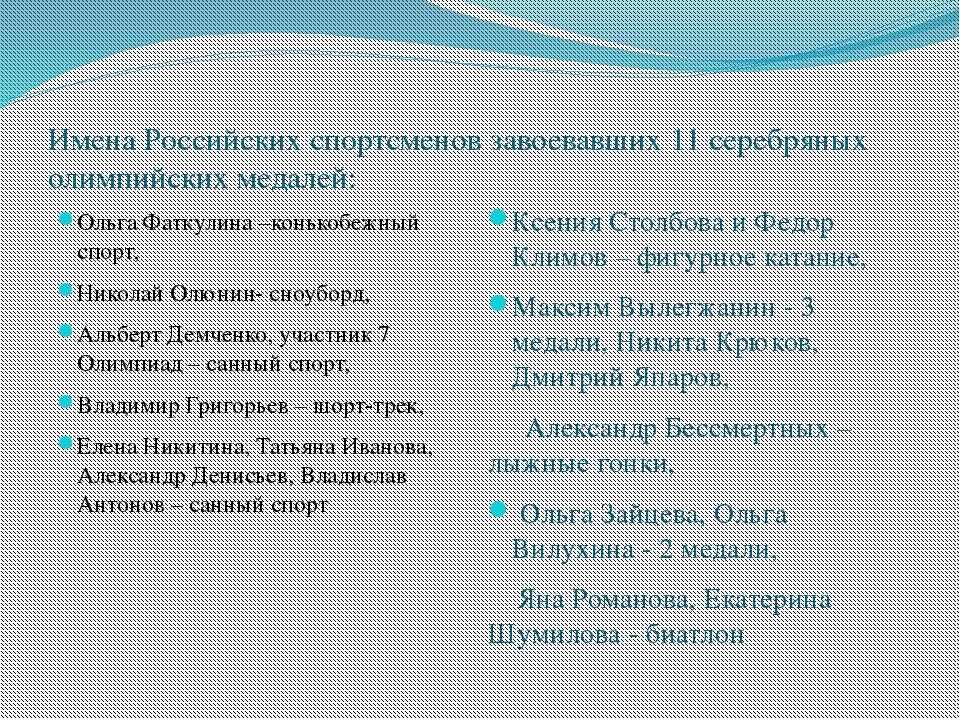 Имена Российских спортсменов завоевавших 11 серебряных олимпийских медалей: О...