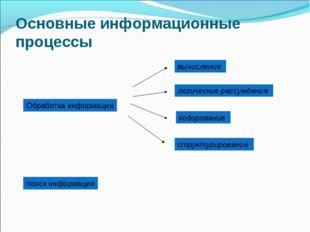 Основные информационные процессы Обработка информации вычисления логические р