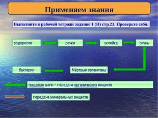 Применяем знания Выполните в рабочей тетради задание 1 (Н) стр.23. Проверьте