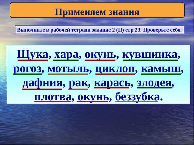 Применяем знания Выполните в рабочей тетради задание 2 (П) стр.23. Проверьте...