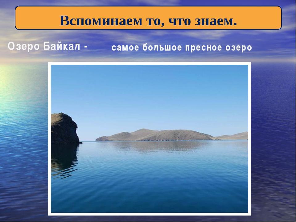 Вспоминаем то, что знаем. Озеро Байкал - самое большое пресное озеро