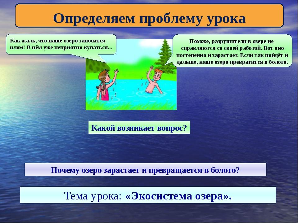 Определяем проблему урока Как жаль, что наше озеро заносится илом! В нём уже...