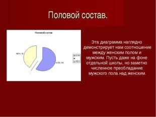 Половой состав. Эта диаграмма наглядно демонстрирует нам соотношение между же