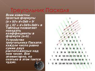 Всем известны простые формулы (a + b)2= a2+2ab + b2 (a + b)3 = a3+3a2b+3ab