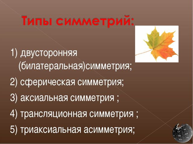 1) двусторонняя (билатеральная)симметрия; 2) сферическая симметрия; 3) аксиал...
