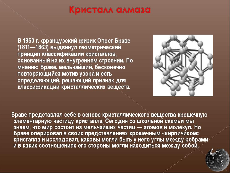 В 1850 г. французский физик Опост Браве (1811—1863) выдвинул геометрический...