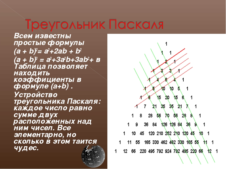 Всем известны простые формулы (a + b)2= a2+2ab + b2 (a + b)3 = a3+3a2b+3ab...