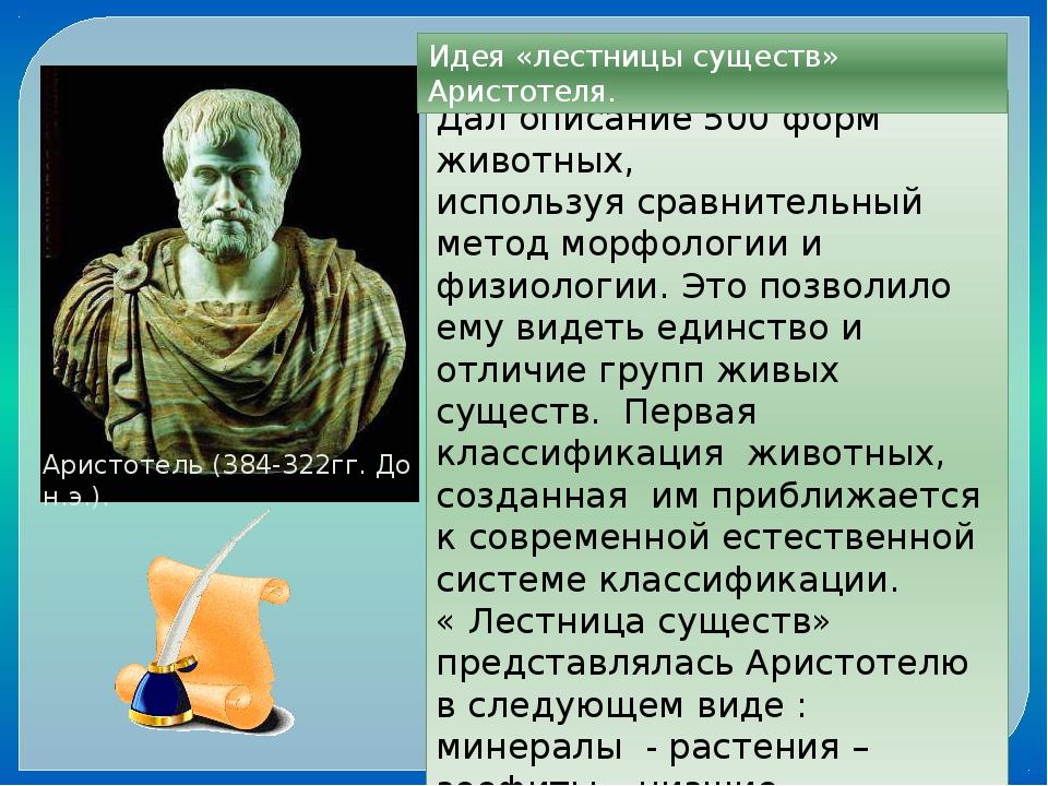 Аристотель (384-322гг. До н.э.). Дал описание 500 форм животных, используя ср...