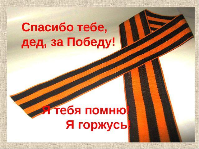 Спасибо тебе, дед, за Победу! Я тебя помню! Я горжусь!