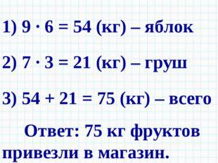 1) 9 · 6 = 54 (кг) – яблок 2) 7 · 3 = 21 (кг) – груш 3) 54 + 21 = 75 (кг) – в