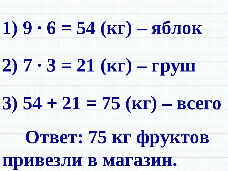 1) 9 · 6 = 54 (кг) – яблок 2) 7 · 3 = 21 (кг) – груш 3) 54 + 21 = 75 (кг) – в...