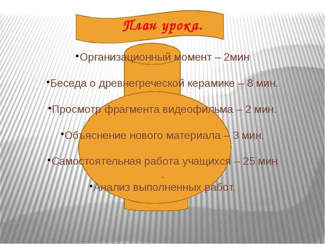 План урока. Организационный момент – 2мин Беседа о древнегреческой керамике...