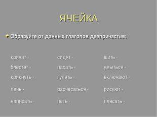 ЯЧЕЙКА Образуйте от данных глаголов деепричастия: кричат -сидят -шить - бле