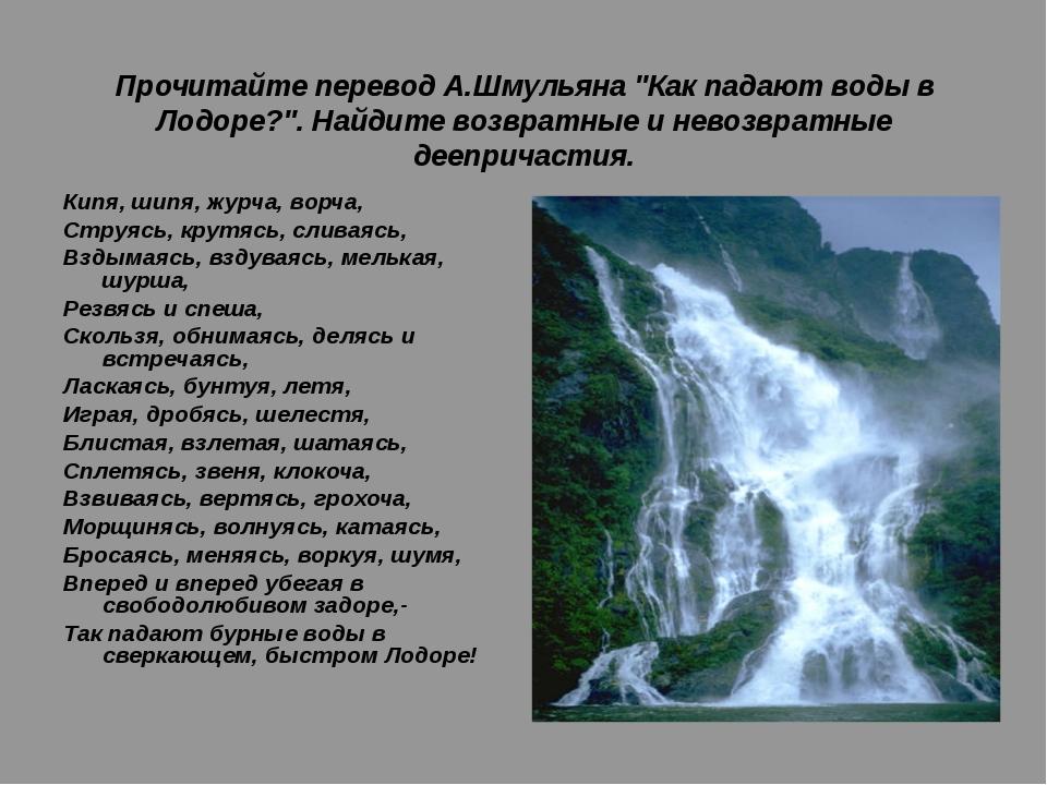 """Прочитайте перевод А.Шмульяна """"Как падают воды в Лодоре?"""". Найдите возвратны..."""