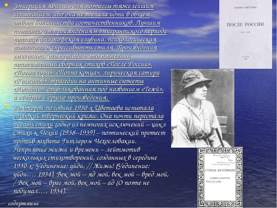Эмиграция явилась для поэтессы тяжелейшим испытанием, ибо она не желала идти...