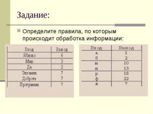 Задание: Определите правила, по которым происходит обработка информации: