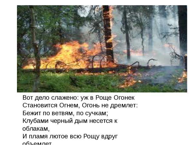 Вот дело слажено: уж в Роще Огонек Становится Огнем, Огонь не дремлет: Бежит...