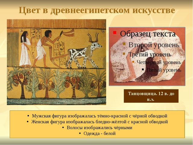 Цвет в древнеегипетском искусстве Мужская фигура изображалась тёмно-красной с...