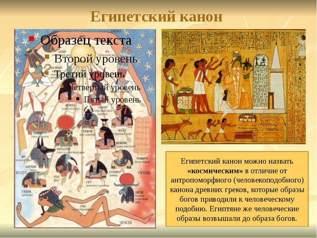 Египетский канон Египетский канон можно назвать «космическим» в отличие от ан...