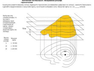 Балтийская система высот. Изображение рельефа горизонталями На рисунке укажит