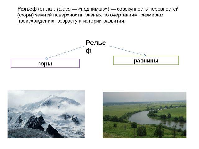 Рельеф(отлат.relevo— «поднимаю»)— совокупность неровностей (форм) земной...