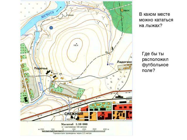 В каком месте можно кататься на лыжах? Где бы ты расположил футбольное поле?
