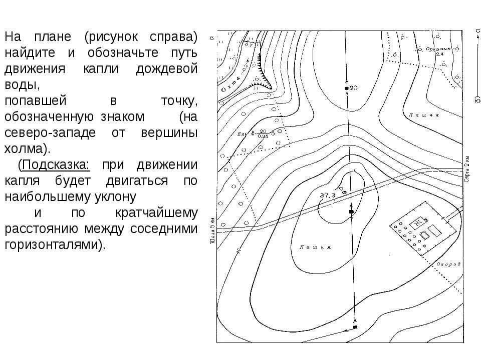 На плане (рисунок справа) найдите и обозначьте путь движения капли дождевой в...
