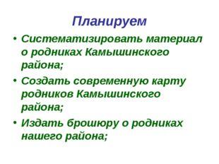 Планируем Систематизировать материал о родниках Камышинского района; Создать