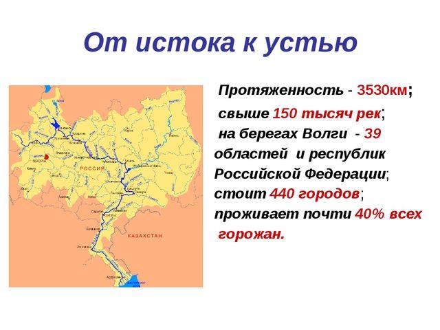 От истока к устью Протяженность - 3530км; свыше 150 тысяч рек; на берегах Вол...