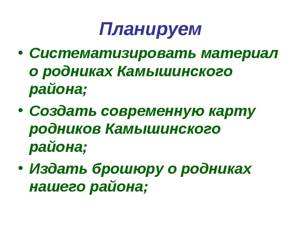 Планируем Систематизировать материал о родниках Камышинского района; Создать...