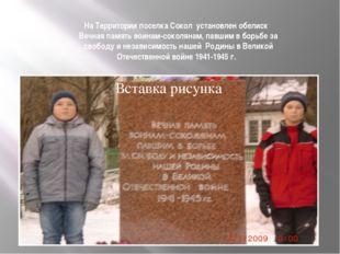 На Территории поселка Сокол установлен обелиск Вечная память воинам-соколянам