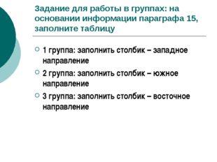 Задание для работы в группах: на основании информации параграфа 15, заполните