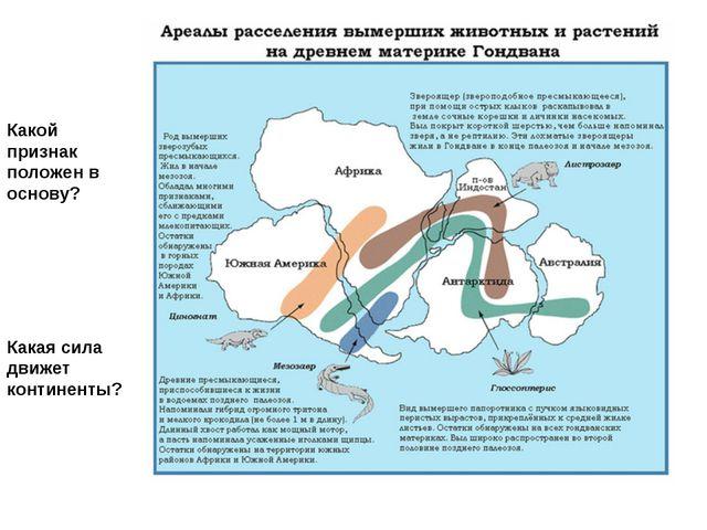 Какой признак положен в основу? Какая сила движет континенты?