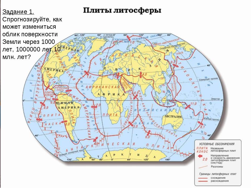 Задание 1. Спрогнозируйте, как может измениться облик поверхности Земли через...