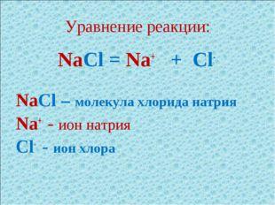 Уравнение реакции: NaCl = Na+ + Cl- NaCl – молекула хлорида натрия Na+ - ион