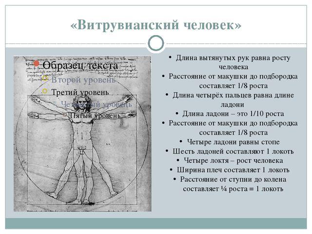 «Витрувианский человек» Длина вытянутых рук равна росту человека Расстояние о...