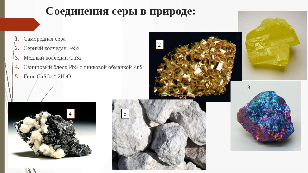 Соединения серы в природе: Самородная сера Серный колчедан FeS2 Медный колчед...
