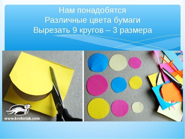 Нам понадобятся Различные цвета бумаги Вырезать 9 кругов – 3 размера
