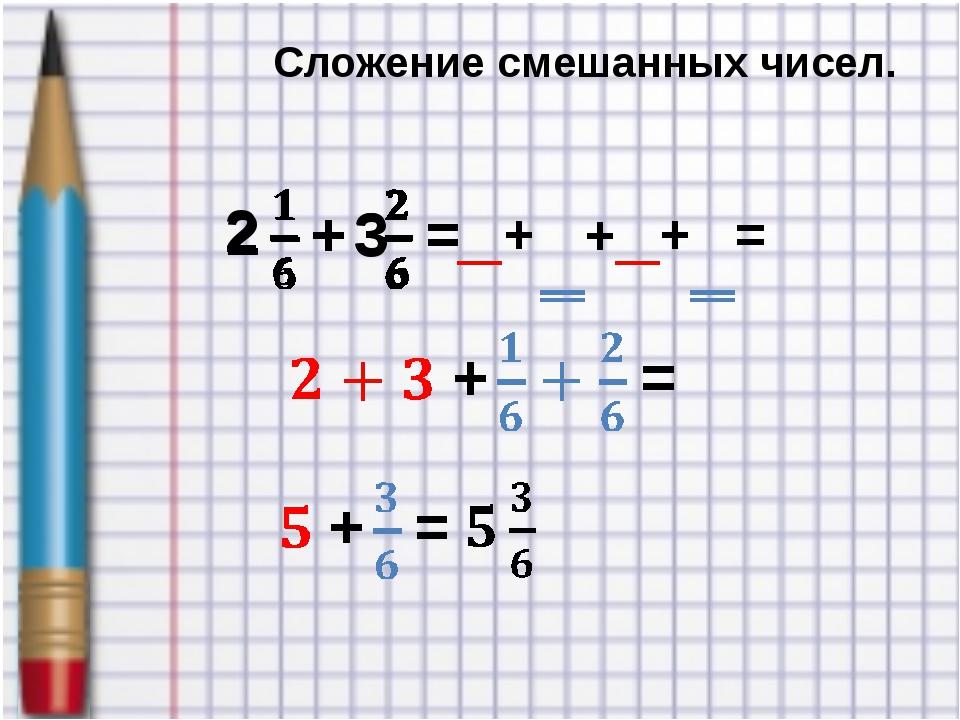 Сложение смешанных чисел. + + + =