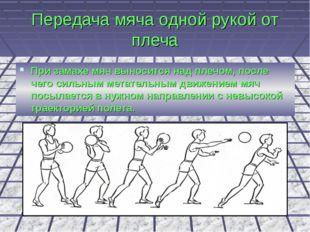 Передача мяча одной рукой от плеча При замахе мяч выносится над плечом, после
