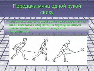 Передача мяча одной рукой снизу При замахе кисть передающей руки заводится за