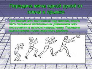 Передача мяча одной рукой от плеча в прыжке При замахе мяч выносится над плеч