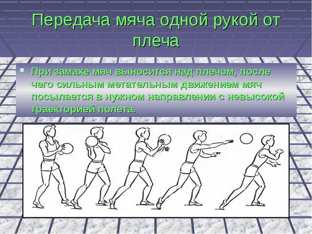 Передача мяча одной рукой от плеча При замахе мяч выносится над плечом, после...