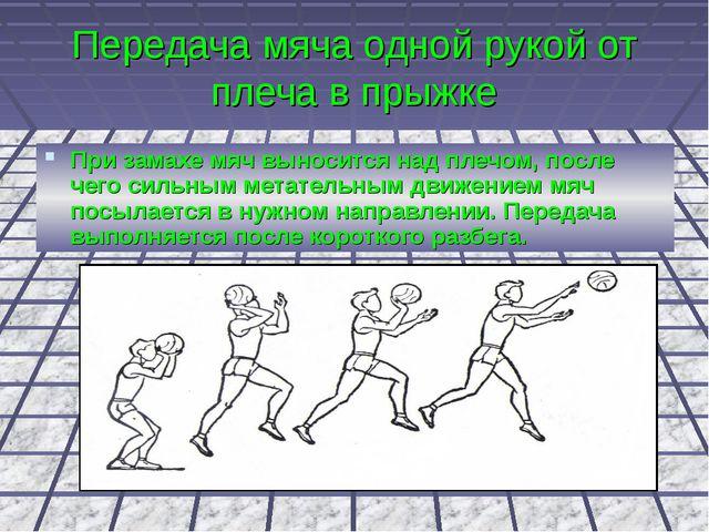 Передача мяча одной рукой от плеча в прыжке При замахе мяч выносится над плеч...