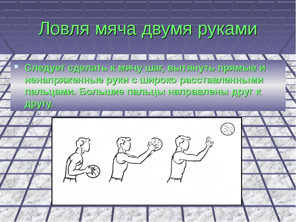 Ловля мяча двумя руками Следует сделать к мячу шаг, вытянуть прямые и ненапря...